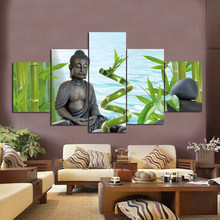 Modern HD Printed Wall Art Cuadros Paintings Posters 5 Panel Bamboo Figure Of Buddha Home Decor Tableau Pictures Modular Canvas(China)