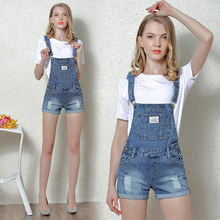 2017 Summer and Autumn holes Gradual Change overalls shortdenim straps shorts flanging denim 9906-1
