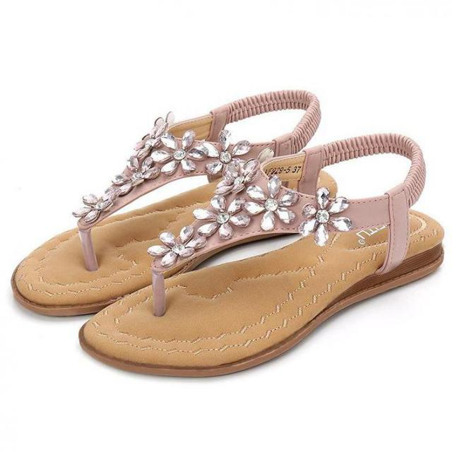 48a6372aba2 Bohemian Wedding Flat Sandals Beach Sandals With Flowers Comfortable  Elastic Clip Toe Flat Sandals With Rhinestones Ankle Strap
