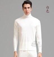 100% seta di gelso fondo indumento superiore senza fodera con spessore degli uomini di seta di alta collo caldo a maniche lunghe biancheria intima
