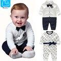 Baby Boy Одежда Бантом New Born Baby Rompers Хлопка С Длинным Рукавом Младенческой Baby Boy Комплект Одежды Нежный Стиль vestido infantil