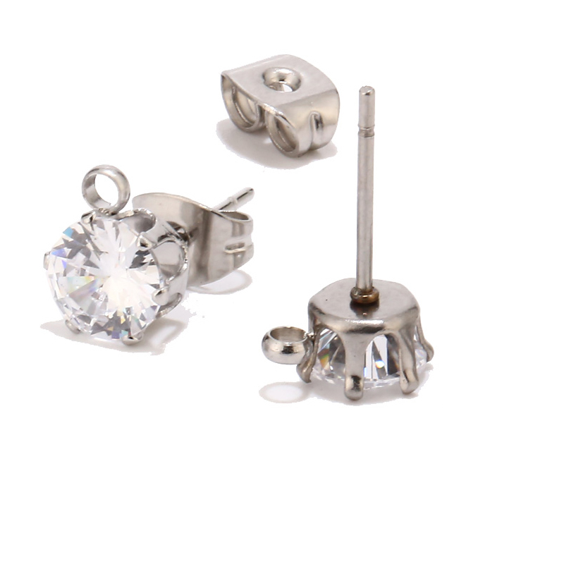Stainless Steel Clear Crystal Post Earrings Length 6 Width 6