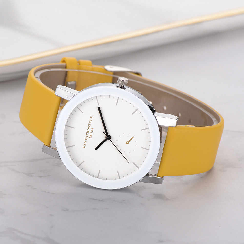 Lvpai Yellow women watch 2019 Quartz Leather Band Wrist Watch Relogio Feminino Montre Femme Horloge Zegarek Damski Dropship