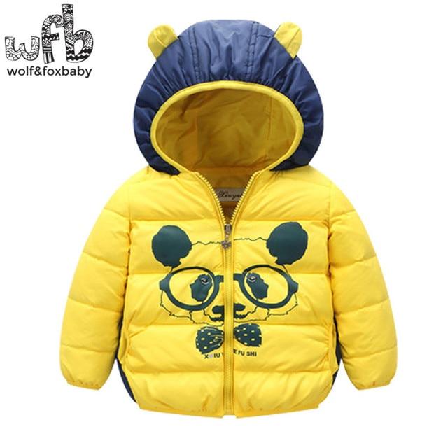 Розничная 1-4 лет дети пуховик С Капюшоном полный рукава мультфильм согреться пальто прекрасные дети весна осень осень-зима