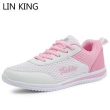 LIN KING Fashion Women Casual Shoes Girls Light Breathable Air Mesh Comfortable Female Sneakers Tenis Feminino Big Size 42