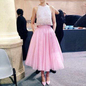 Pink Sweety Tutu Tulle Skirts For Women Tiered Ruffle Mid-Calf Waist Zipper Custom Made Formal Prom Skirts