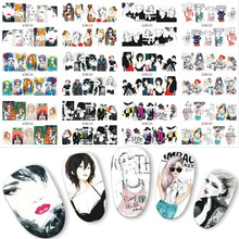 12PCS IN 1 Special Trend Girls Water Transfer Nail Art Stickers Nails Decal Slider Anime Woman Manicure Sticker DIY Labels BN253
