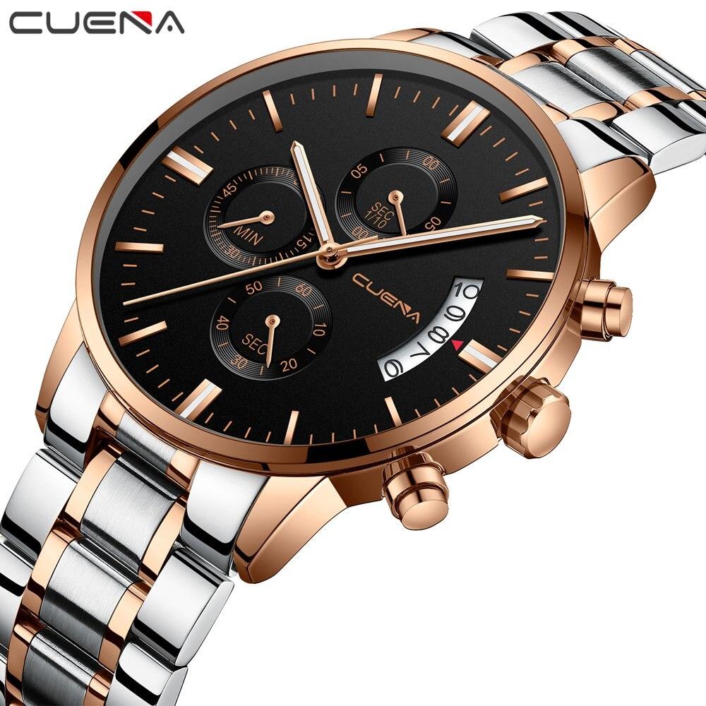 CUENA Men Watches 2018 Luxury Brand 30m Waterproof Stainless Steel Men's Wrist Watches Luxury Design Quartz Watch Men Male Clock