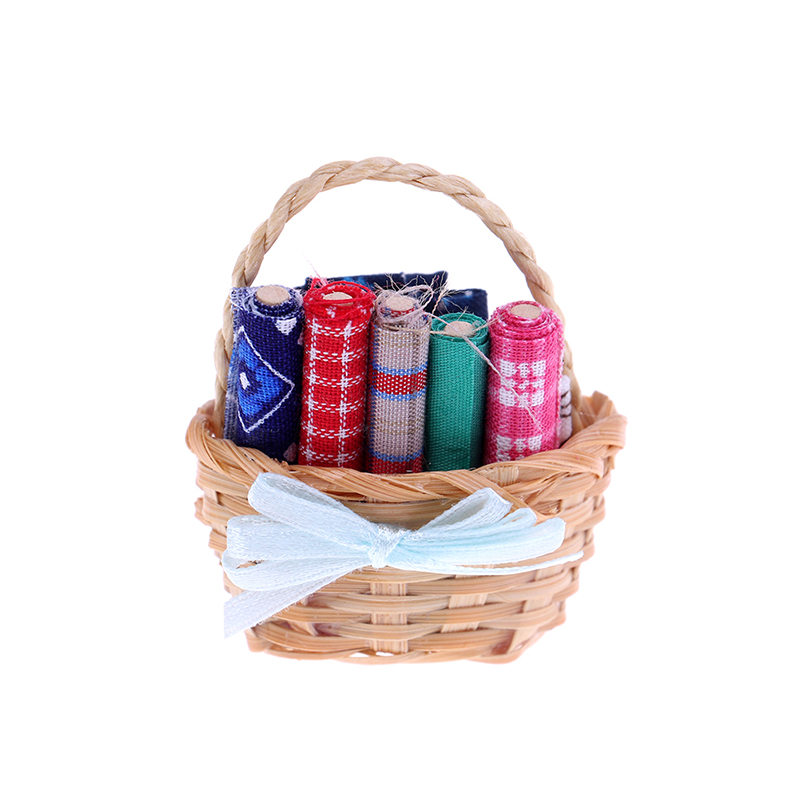 New Decor Miniature <font><b>Accessory</b></font> For <font><b>Doll</b></font> Gift Wood Cloth Cute Mini Fabric Basket For <font><b>1</b></font>:<font><b>12</b></font> <font><b>Doll</b></font> <font><b>House</b></font> <font><b>Accessories</b></font> Cloth Basket Set image
