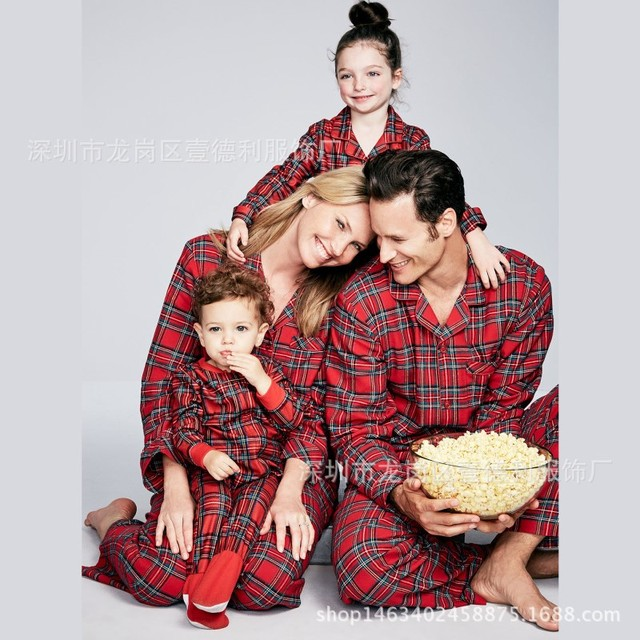 20ae5467d Family Christmas Pajamas Red Plaid Home Wear Mommy and Me Clothes ...