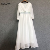 Top Quality Brand Chinese Dress 2019 Spring Summer Women V Neck Organza Embroidery 3/4 Sleeve Ankle Length White Blue Dress Long