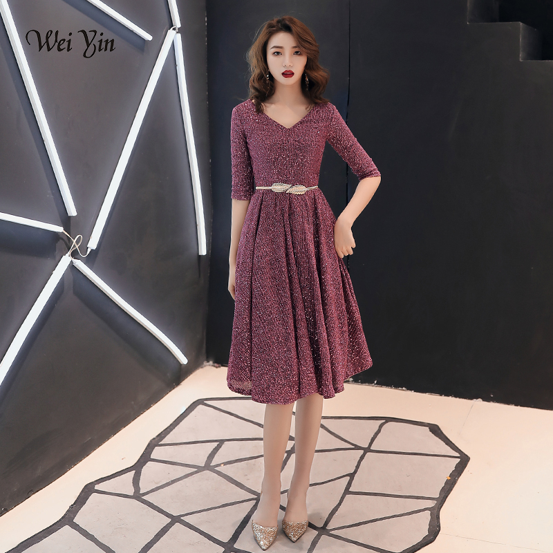 wei yin 2019 Women's New Elegant V Neck   Evening     Dresses   short Lace A-line Sexy Prom Party Gown Elegant Woman Party   Dress