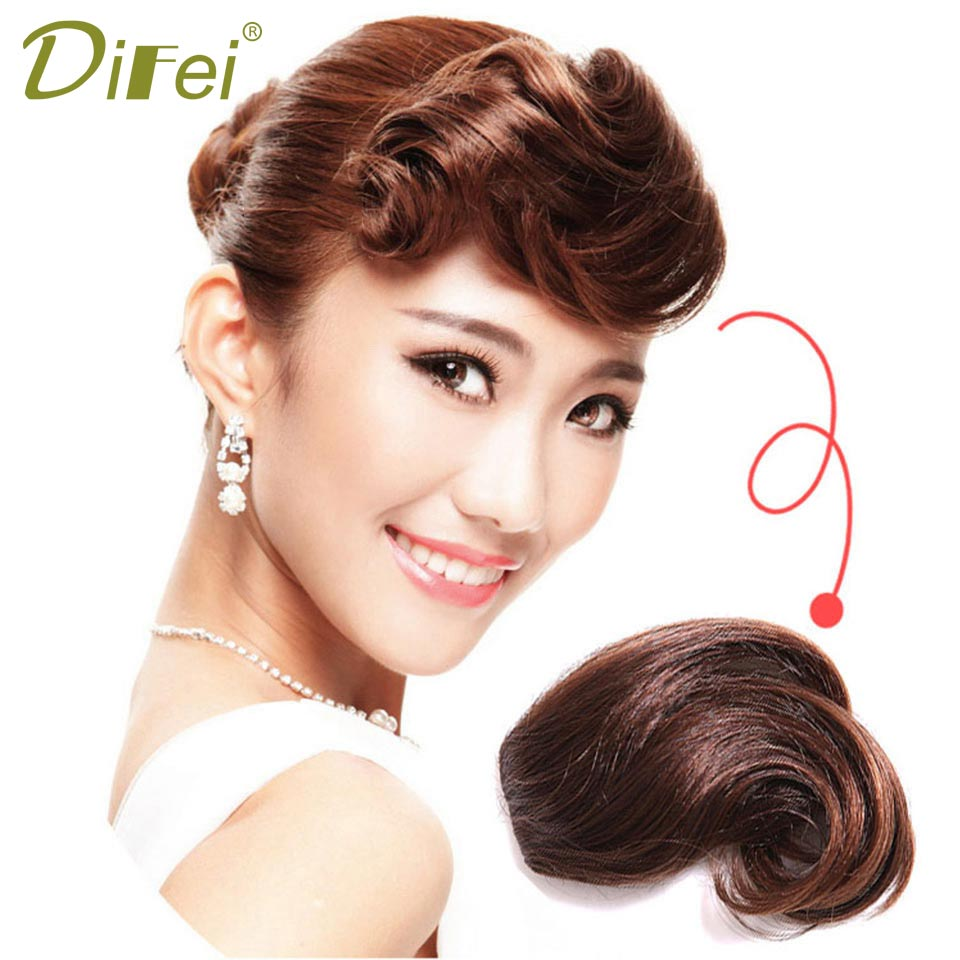 DIFEI WIG Clip On Curly Bangs Black Fringe Hair Extensions Synthetic Clips in Hair Bang False Short Flat Bangs Two Side ...