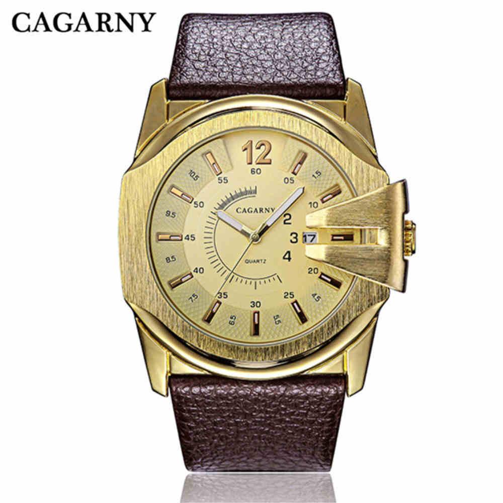 6fa4006ba8e CAGARNY Homens Luxo Relógios À Prova D  Água Homens Relógio Do Esporte de  Couro Genuíno