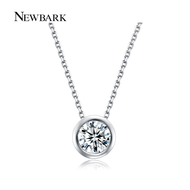 Simple round 1 carat cubic zirconia solitaire pendant necklace clear aloadofball Choice Image