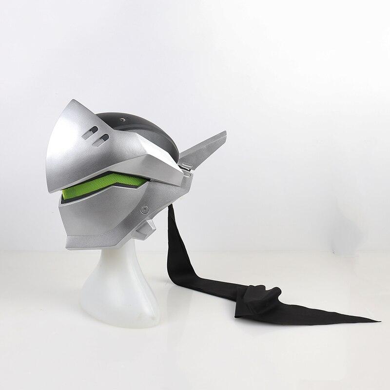 Avec lumière!!! FRP Type Genji casque Shimada Genji Cosplay casque Genji masque pour Costume accessoires chapeaux sans batterie