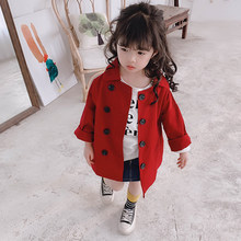Girls Black Double Breasted Long Windbreaker Jacket Children's Wear For Hight 80cm-130cm(China)