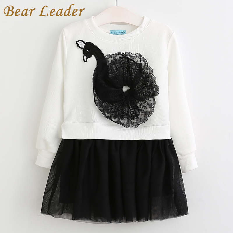 Bear Leader Autumn Long Sleeve Girls Dress 2016 New Casual Style Girls Clothes Cartoon Rabbit Embroidery Dress for Kids Clothes 2016 new autumn girls costume european&american style kids dress for girls fashion lace floral child long sleeve dress