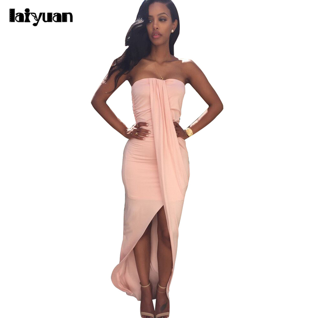 268730bebb35 Fashion Summer Sexy Off Shoulder Pink Khaki Nightclub Split Dress Elegant  Bodycon Backless Dress Zj15616