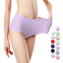 UNLIMON Women Panties Sexy Ice Silk Briefs Middle-Rise Underpants Soft One Piece Free Shipping  Sexy Underwear Plus Size
