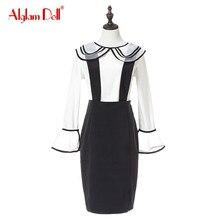 Alglam Doll Women 2 Pieces Set OL Work Office Ladies Peter Pan Collar Flare Sleeve Blouse Top Shirt + Mini Stripe Skirt Dress