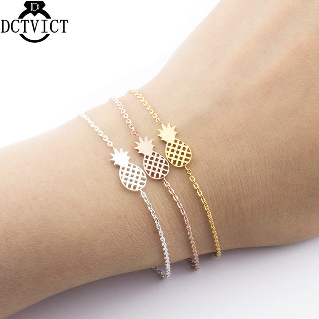 Minimal Pineapple Charm Bracelets Femme Stainless Steel Rose Gold Ananas Jewelry Friendship Bracelet Christmas Gifts For Women