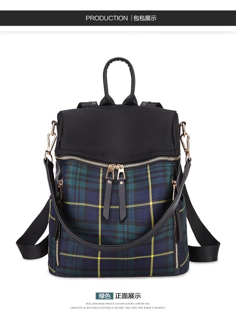 af09401a8a Women Plaid Backpack Ladies Canvas Shoulder Purse Large Bookbag Zipper  School Bag Girl Travel Daypack Rucksack Mochila