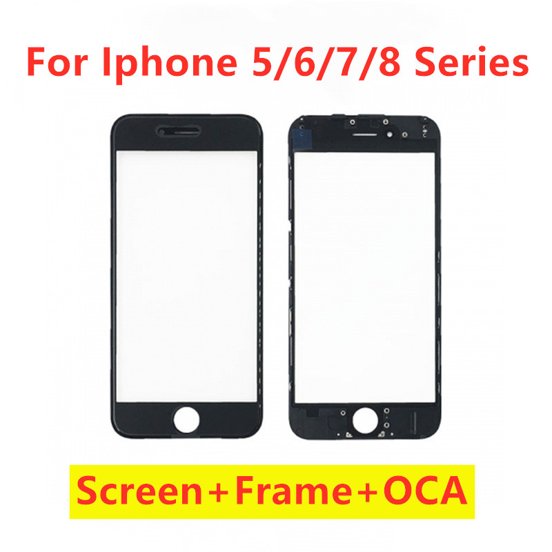 For iPhone 5 5s 6 6s plus 7 plus 8 Plus Repair Parts LCD Touch Screen Glass Display Front Frame + Hot Glue Bezel + OCA image
