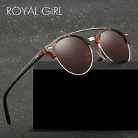 ROYAL MENINA Dos Óculos De Sol Das Mulheres Dos Homens Polarizados 2019 Rodada Revestimento de Espelho Óculos de Sol Marca de Luxo Designer de Steampunk Unisex ss129