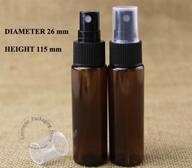 100 개/몫 도매 앰버 30 ml 플라스틱 스프레이 병 빈 atomizer 모자 1 oz 여성 화장품 용기 작은 향수 포장-에서리필 병부터 미용 & 건강 의  그룹 3