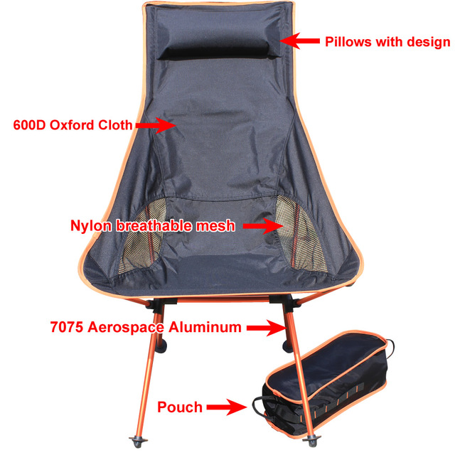 New Adjust Extended 4 Color Aluminum Frame Fishing Folding Camping Beach Chair Big Chair Moon Chair For Garden Outdoor Sports