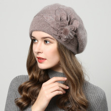 Fibonacci 2018 New Brand Quality Female Beret Wool Knitting Cap Hat Autumn Winter Fashion Floral Women Berets