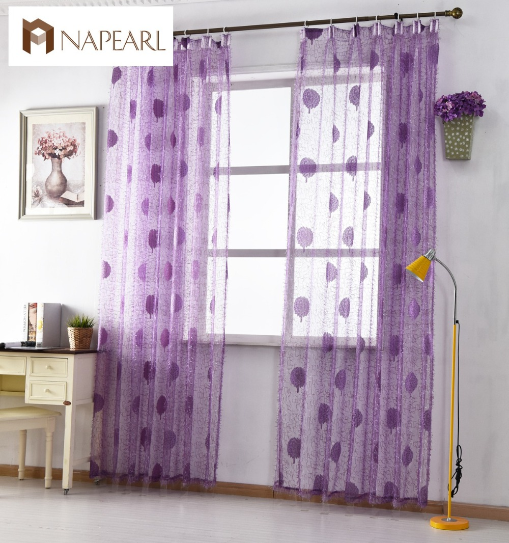 Floral Tulle Curtains Window Treatments White Sheer Fabrics Brown Purple Jacquard Rustic Kitchen