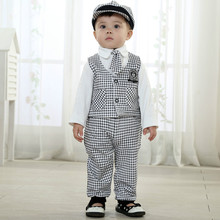 Boys Clothing 3  4 Years Gentleman Set Spring Kids Clothes Long Sleeve Plaid Suit Tie Cap Sets England Style 5 Pieces