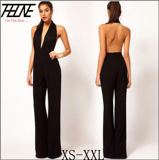 cc7bd7ff211 Plus Size XXL Sexy Women Sleeveless Backless Jumpsuits Long Pants Halter  Deep V Neck Outfit Rompers Black