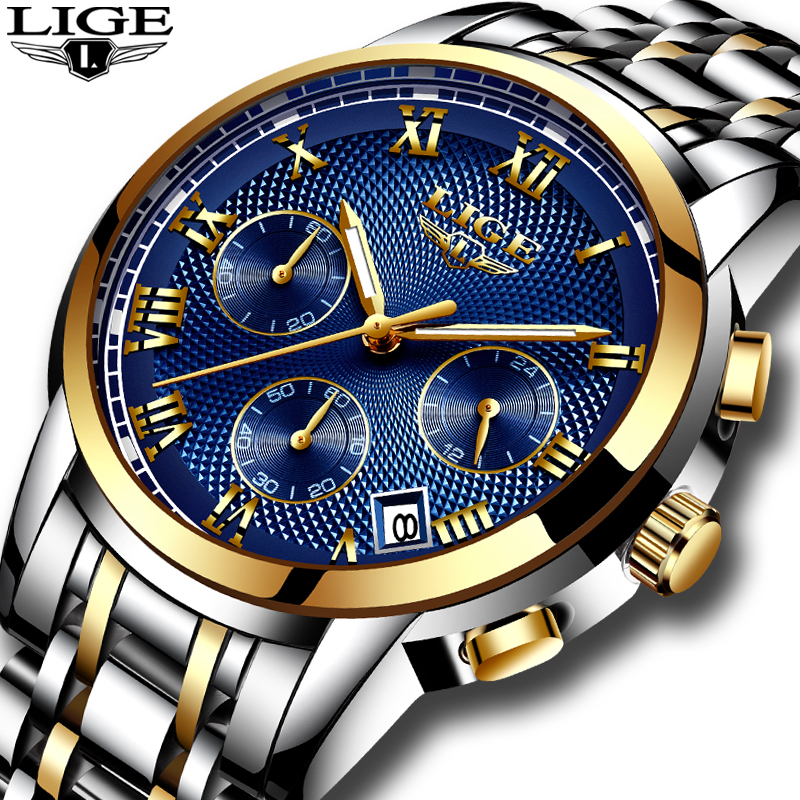 relogio masculino LIGE Mens Watches Top Brand Luxury Sport Quartz Watch Men Business Full steel Clock Man Waterproof Wristwatch airtac new original authentic solenoid valve 4m310 08 dc24v