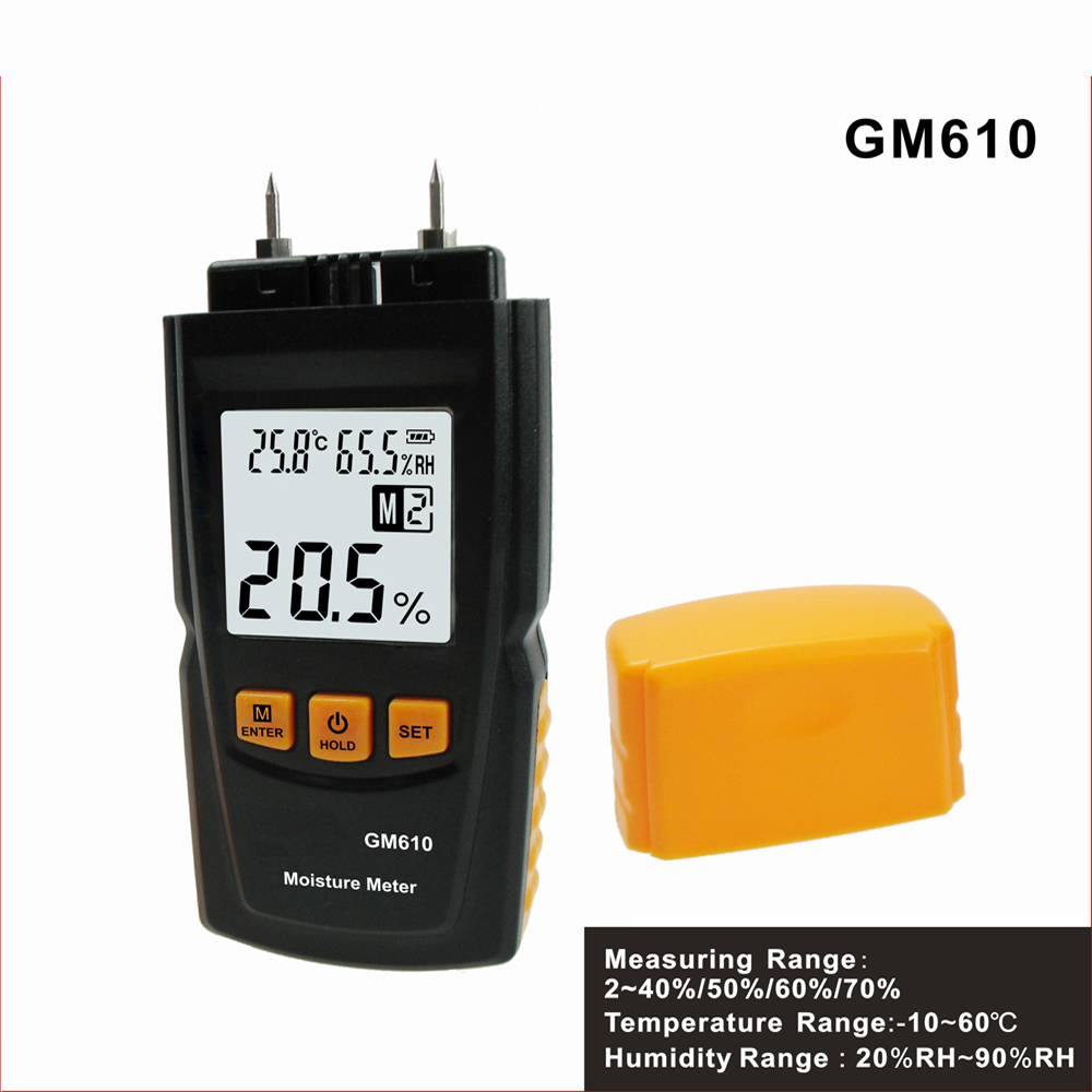 GM610 Wood Moisture Meter with LCD Backlight Temperature Humidity Tester  Portable Wood Moisture tester saipwell lcd display digital wood moisture meter temperature humidity meter tester gm610