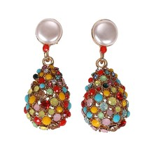 цена на Retro Female Multicolor Water Drop Rhinestones Earrings Geometric Rhinestone Crystal Drop Earrings Long Big Earrings