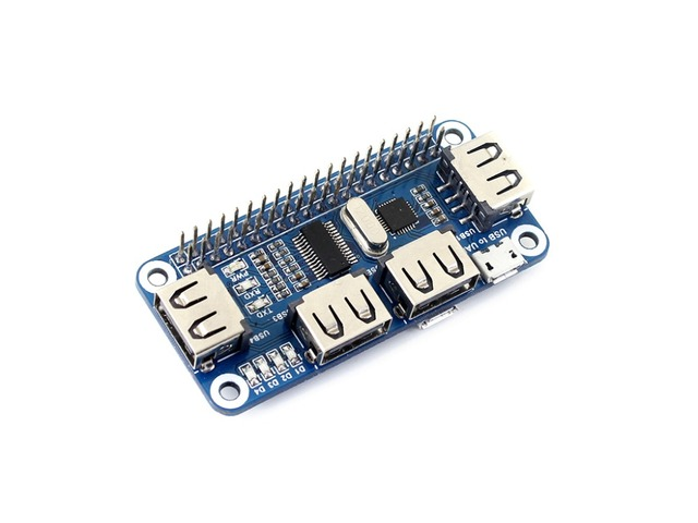 Waveshare USB לuart ממיר 4 יציאת USB HUB כובע עבור פטל Pi 2B/3B/3B +/ אפס/אפס W תואם עם USB2.0/1.1