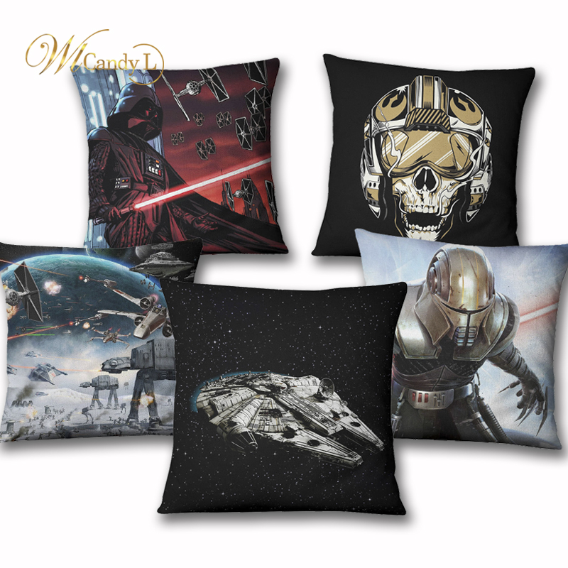 WL Candy L Star Wars Series Linen Cushion Cover Movie Jedi Knight Millennium Falcon Home Decoration Bedroom Office Throw Pillows