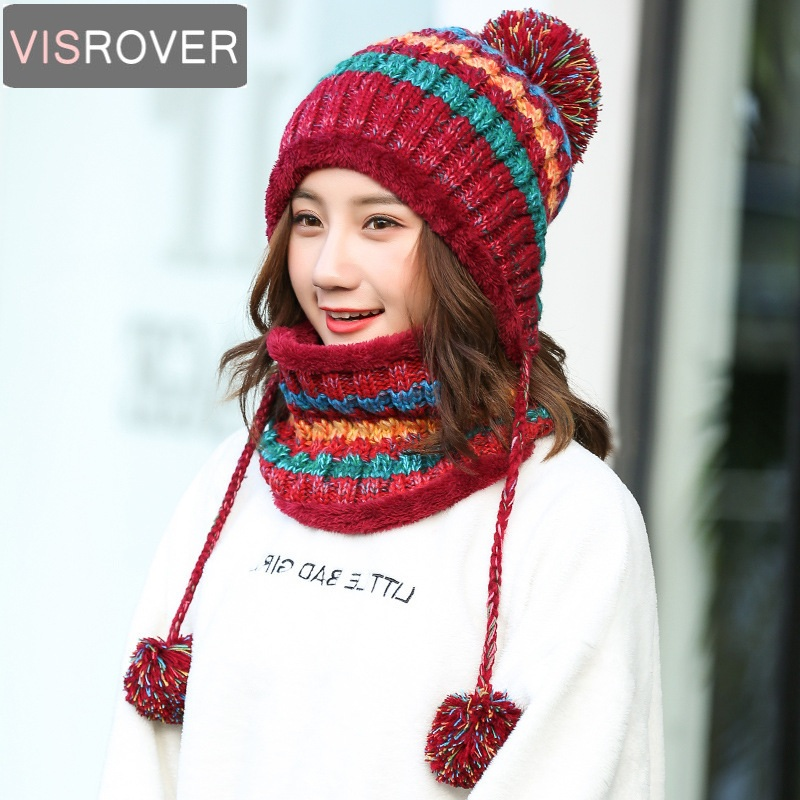 VISROVER New Multi Functional Winter Pompoms Girls Knitted Wool Warm Cap Thick Windproof Hat  Scarf Set  Beanie For Women Hat