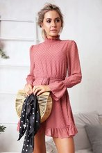 купить 2019 Summer Women Polka Dot Chiffon Dress Vintage Casual High Neck Ruffles Short Dress Tunic Belt Flare Sleeve Party Dress по цене 1194.51 рублей
