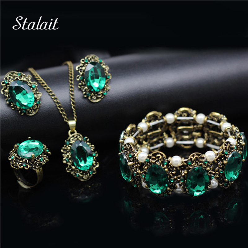 Fashion Wedding Bridal Jewelry Sets Green Crystal Antique Bronze Color Jewelry Set Necklace Earrings Bracelet Rings Mothers Day