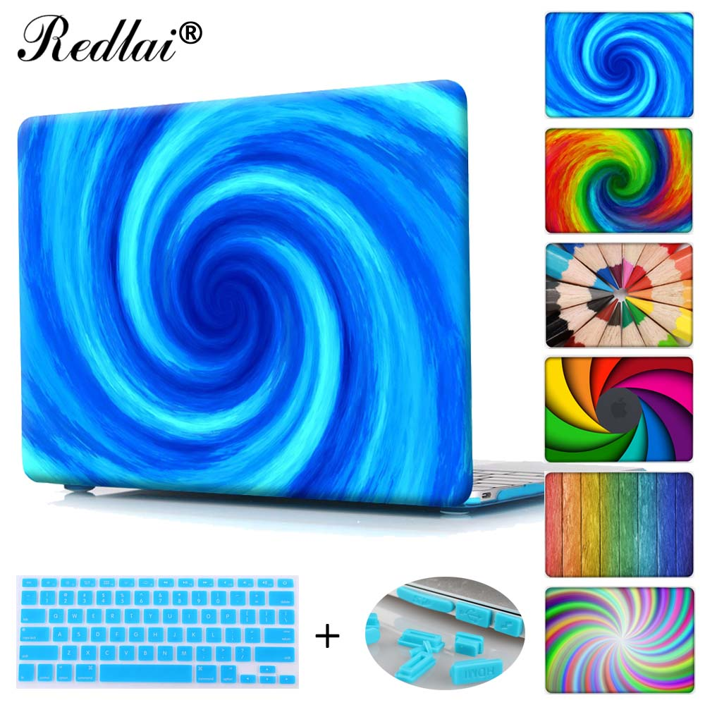 Redlai Laptop Case For Macbook Air Pro Retina 11 12 13 15 Colorful Spiral Print Hard Case Cover For Mac Pro 13 Touch bar A1706