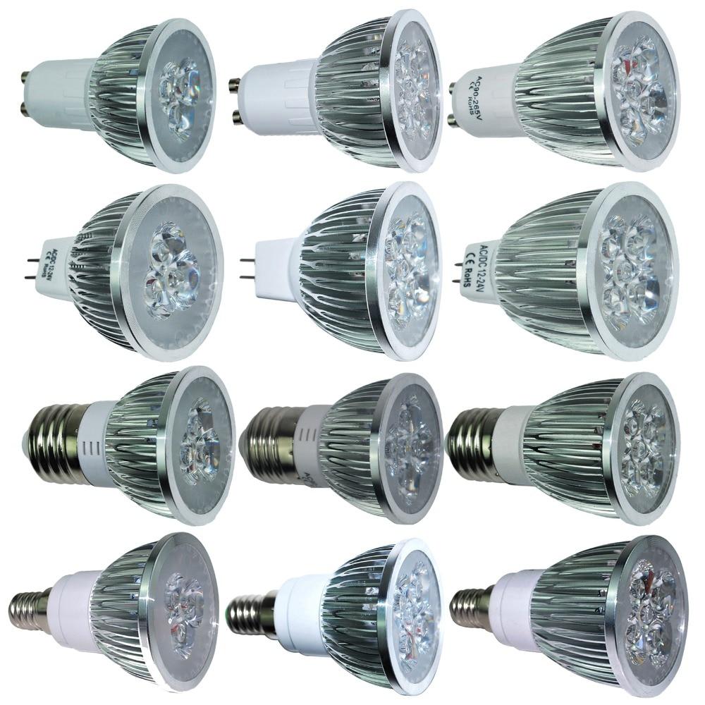 Ультра-яркий 9 Вт 12 Вт 15 Вт GU10 MR16 E27 E14 светодиодные лампы 85-265 В dimmable открытый Прожекторы Теплый/натуральный/холодный белый лампа 110 В 220 В DC 12 В