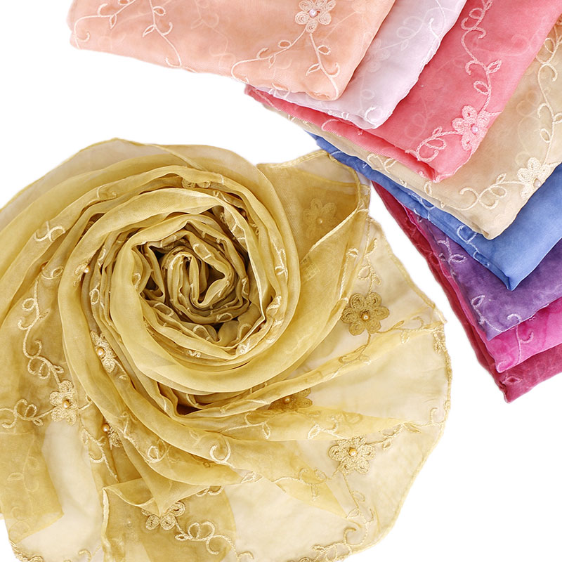 Women embroidery beads   scarf   solid color shawls hijab shimmer   scarves   soft silk   wrap   headband Islamic fashion muslim hijabs