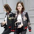 Sheepskin genuine leather jacket women Black short motorcycle leather clothing female korea zipper Embroidery design Jacket