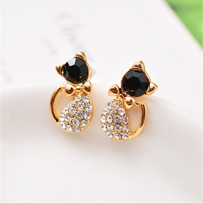 New Fashion Cute Lovely gold Color  Rhinestone Crystal Cat Earrings for Women Kids Crystal Earring Fashion Earrings wholesale 2