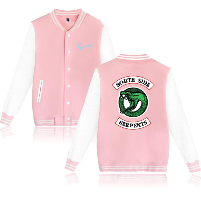 Riverdale southside serpents Pink Baseball Uniform Unisex Jughead Jones Casual Long Sleeve Harajuku Sweatshirt Hip Hop Clothing