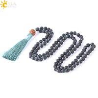 CSJA натуральный вулканический камень Цепочки и ожерелья 108 бусина Мала 6 мм узлом длинное ожерелье буддистская Ваджра Бодхи бижутерия в боге...
